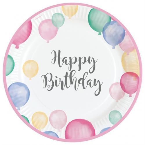 Happy Birthday Pastell 23 cm Tallrik
