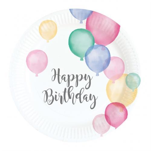 Happy Birthday Pastell 18 cm Tallrik