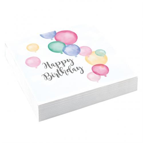 Happy Birthday Pastell Servetter 33 x 33 cm