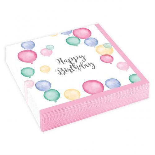 Happy Birthday Pastell Servetter 25 x 25 cm