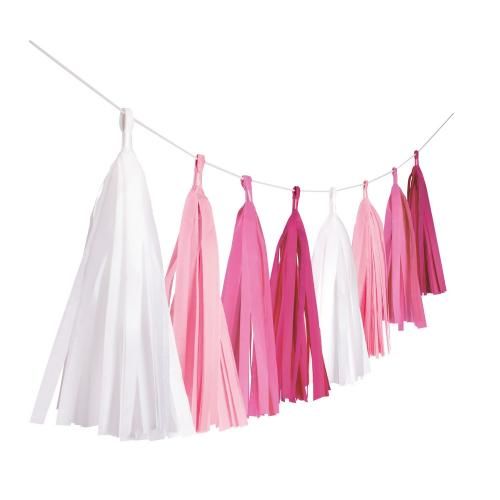 Tassel / tofs girlang - Hot Pink