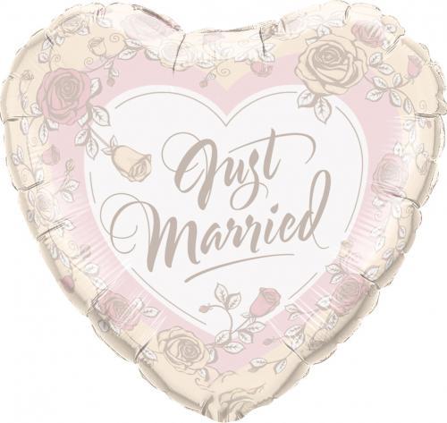 "18"" (46 cm) Hjärta Just Married Roses"