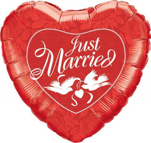 """36"""" (90 cm) Hjärta Just Married"""