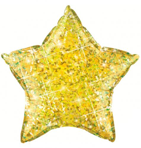 """20"""" (51 cm) Stjärna Holografisk Gul"""