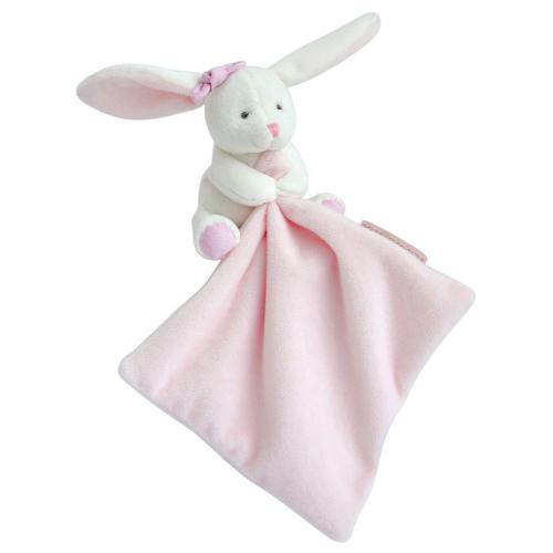 Kanin med rosa snuttefilt - 11 cm - i fin presentlåda