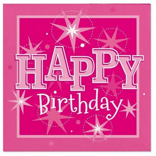 Happy Birthday Rosa Servetter 20-pack