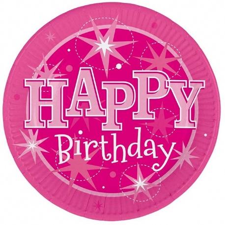 Happy Birthday Rosa Tallrikar 8-pack
