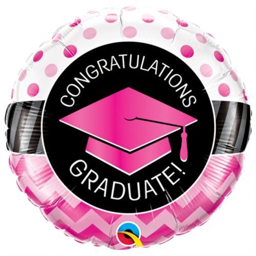 "18"" (46 cm) Graduate Pink Chevron Dots"