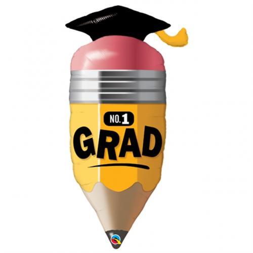 Folieballong i form av penna med amerikansk studenthatt