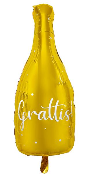 """Guldfärgad folieballong i form av en flaska med texten """"Grattis"""""""