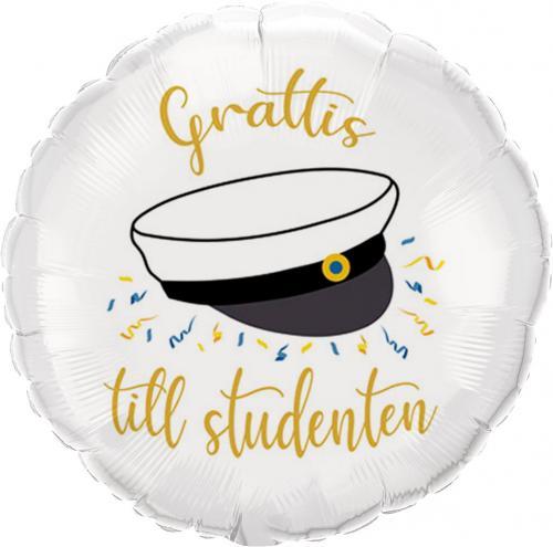 Vit folieballong med studentmotiv