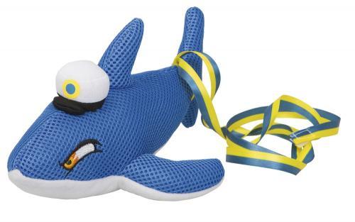 Studentnalle Blå Haj med gult och blått band