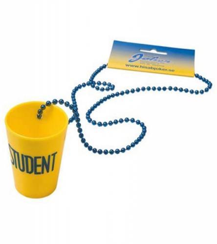 Gult shotglas i plast med band - att hänga om halsen på studenten