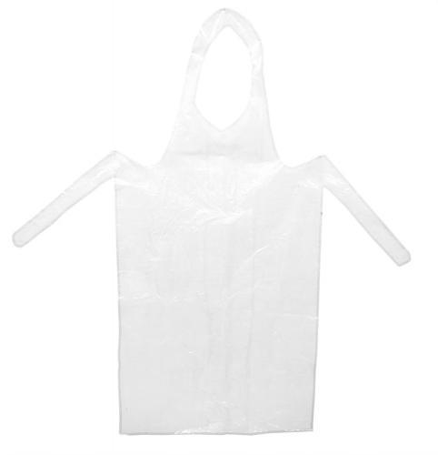 Genomskinligt plastförkläde som skyddar festkläderna