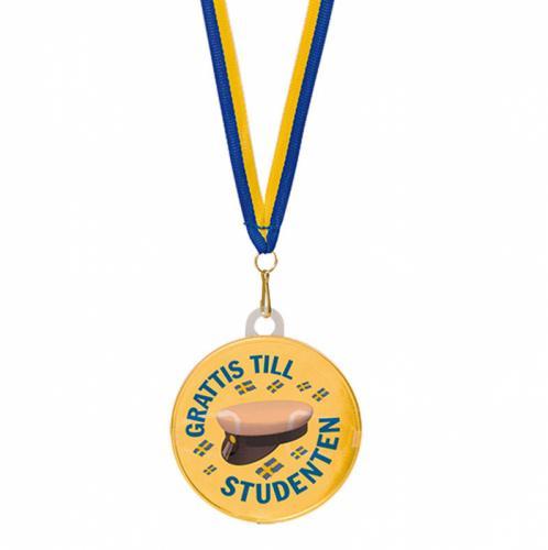 Chokladmedalj med studentmotiv och blått och gult band