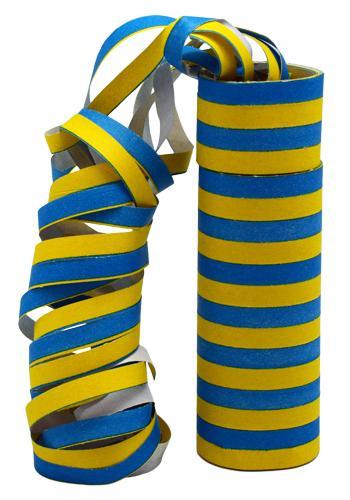 Två st gul och blå serpentiner