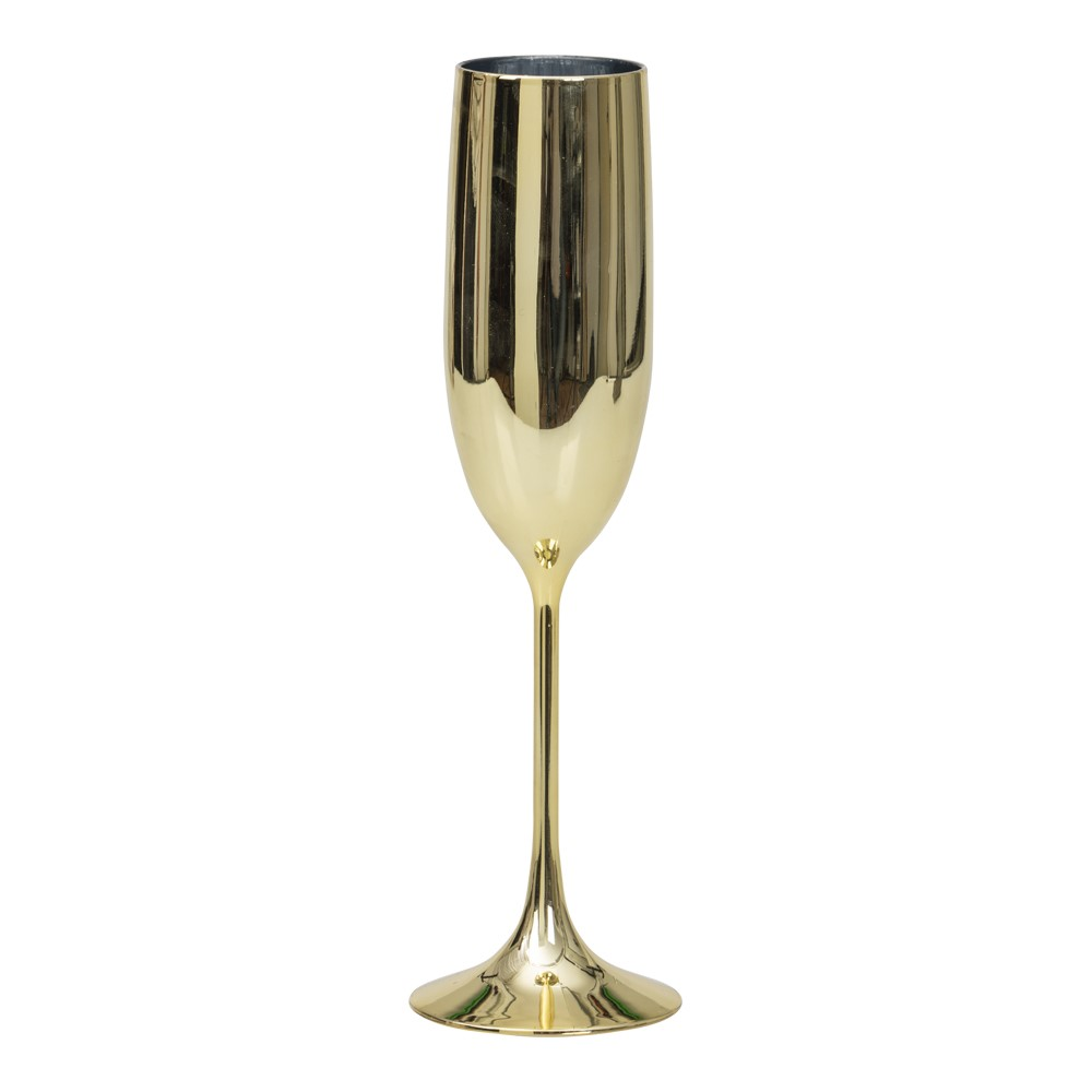 Guldfärgat champagneglas i plast