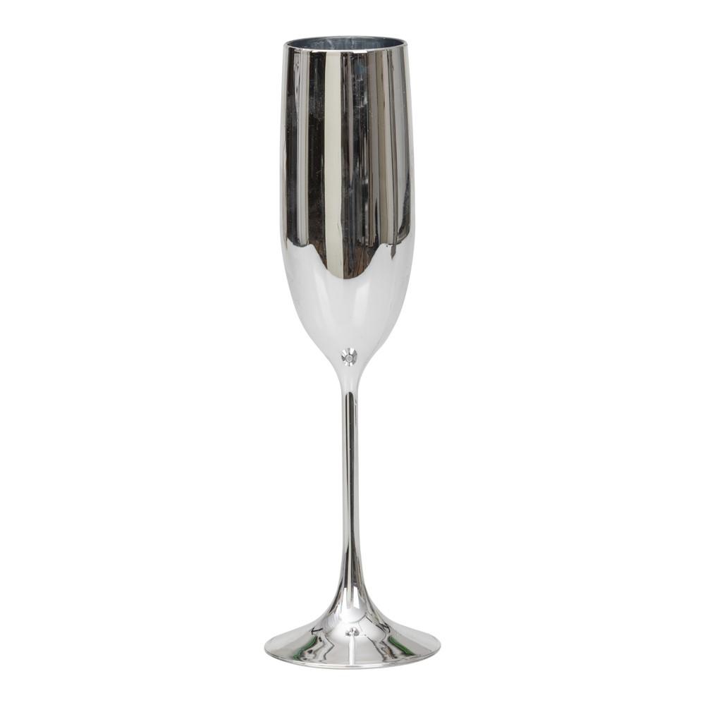 Silverfärgat champagneglas i plast