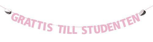 """Flaggspel med rosa text """"grattis till studenten"""" och två studenmössor"""