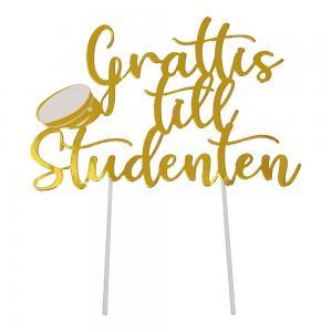 "Cake topper i guld med texten ""grattis till studenten"""