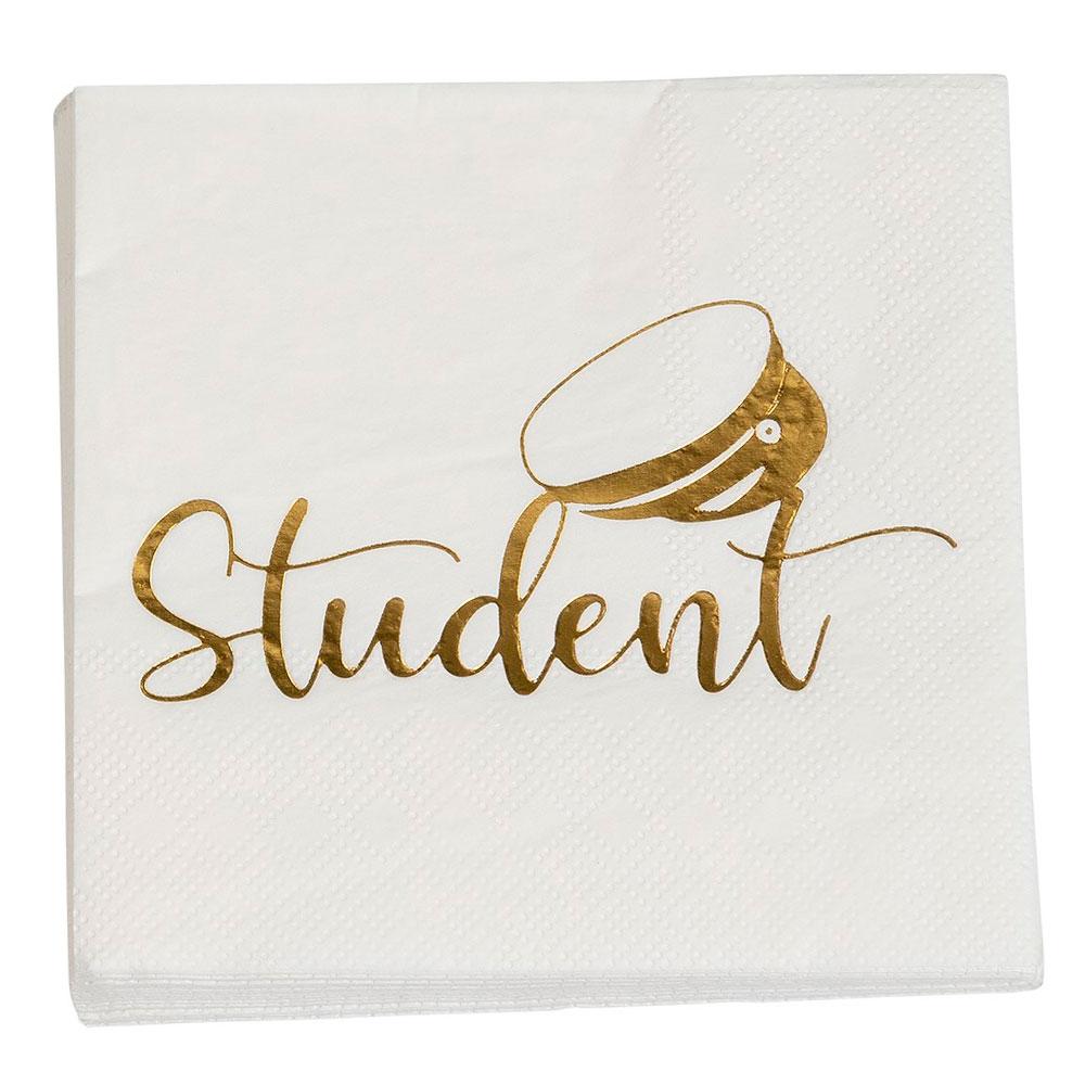 Vi servett med guldtryck: texten student och en studentmössa