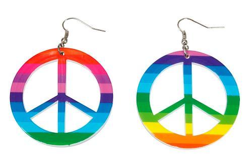 Peace-örhängen, multifärgade