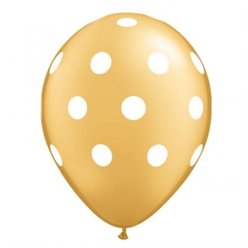"11"" (28 cm) Big Polka Dots Guld"