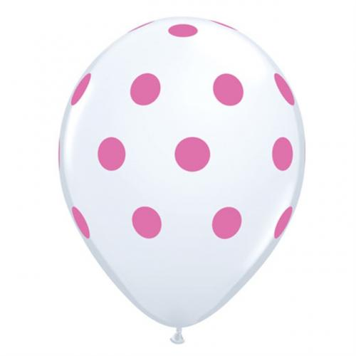 "11"" (28 cm) Big Polka Dots Vit"