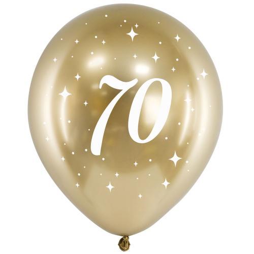 """11"""" Födelsedagsballong Guld 70 år - 6-pack"""