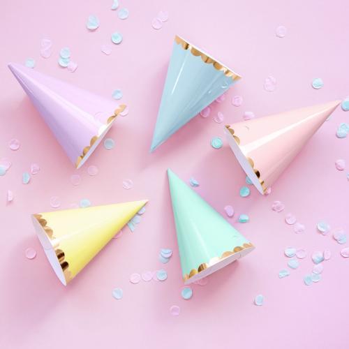 Partyhattar, pastell, mix