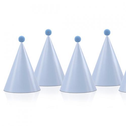Partyhattar Ljusblå med pompom