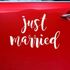 """Just married"" dekal, 33x45cm"
