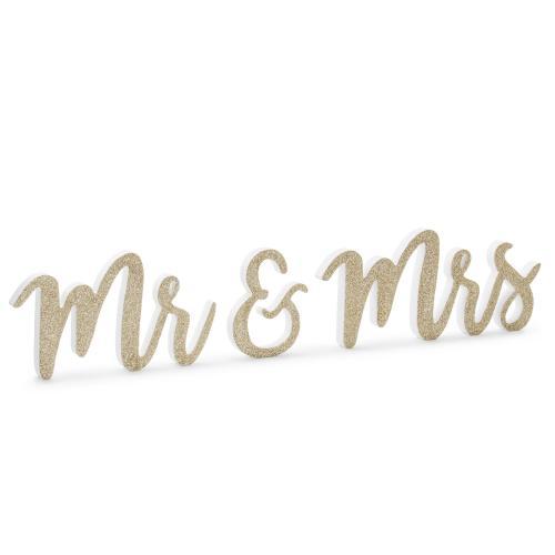 Bokstäver i trä Mr & Mrs, guldglitter