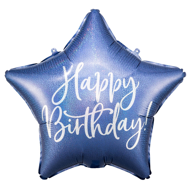 """16"""" (40 cm) Happy Birthday Stjärna marinblå"""