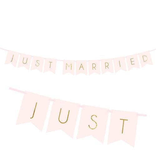 Just Married banner, ljusrosa