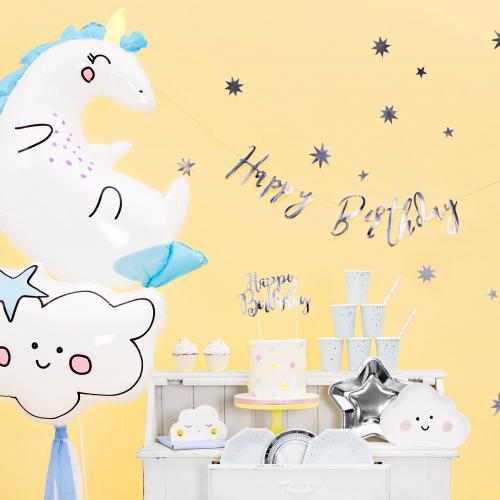 Happy Birthday Banner Silver