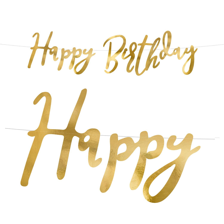 Happy Birthday Banner Guld