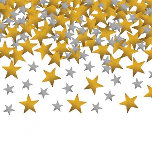 Konfetti stjärnor Silver och Guld