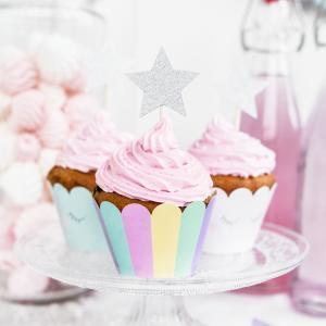 Cupcake topper stjärna silver