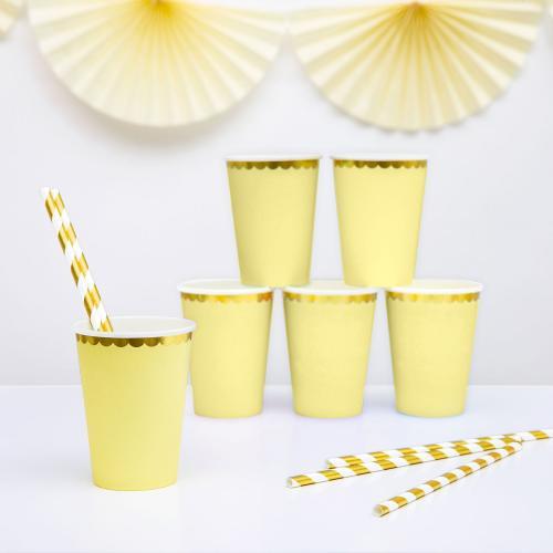 Pappersmuggar, pastell gul