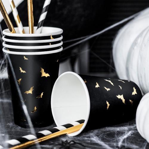 Pappersmugg, svart med fladdermöss i guld