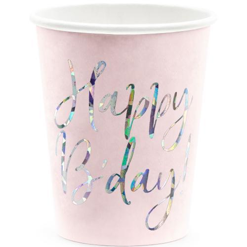 Pappersmugg Happy Birthday Rosa 220 ml