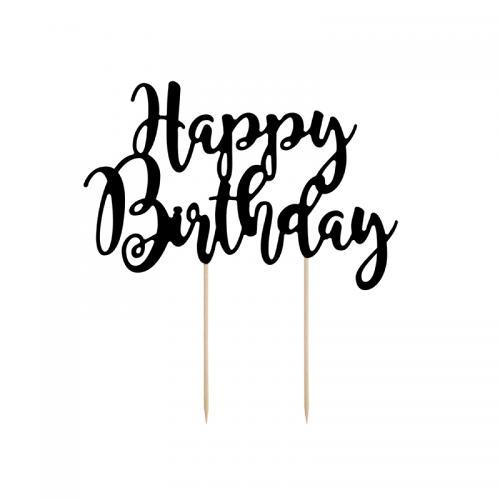 Cake topper Happy Birthday svart