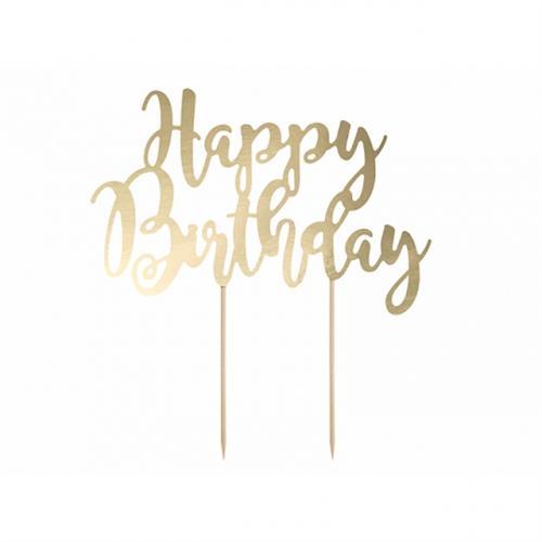 Cake topper Happy Birthday guld