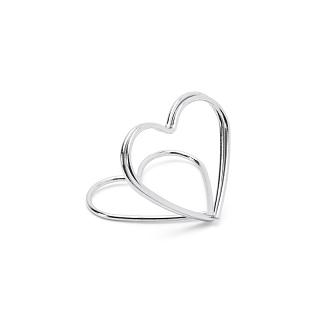 Hållare till placeringskort, hjärtan, silver