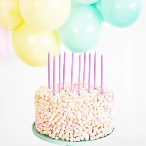 Tårtljus, lila 14cm