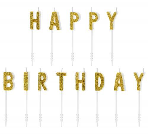 Happy Birthday Tårtljus Guldglitter