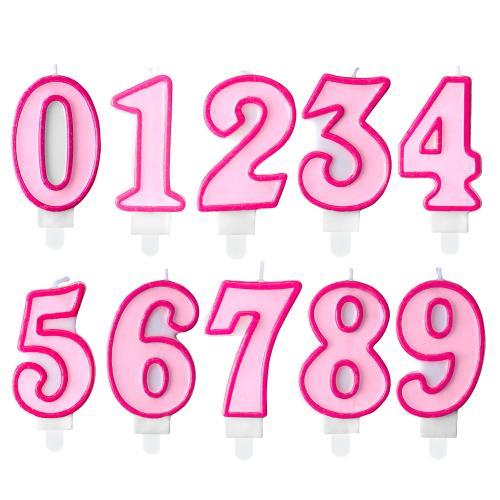 Tårtljus, vitt med rosa kant #7