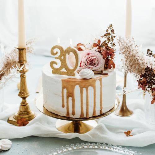 Tårtljus, guldglitter, 30 år