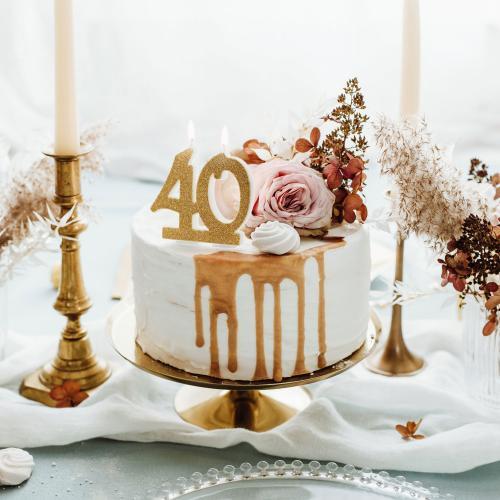 Tårtljus, guldglitter, 40 år
